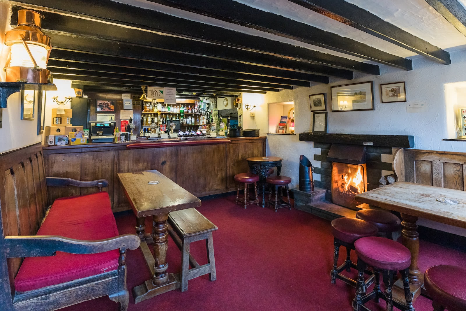 The Britannia Inn Bar and fireplace